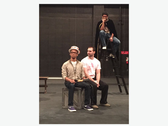 Rehearsal with (L to R) Malcolm Parker, Blake Graham, and Kevin Holloway