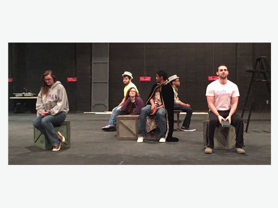 Rehearsal with (L to R) Caroline Starling, Zachary Greenwood, Jordan Watson, Kevin Holloway, Malcolm Parker, and Blake Graham
