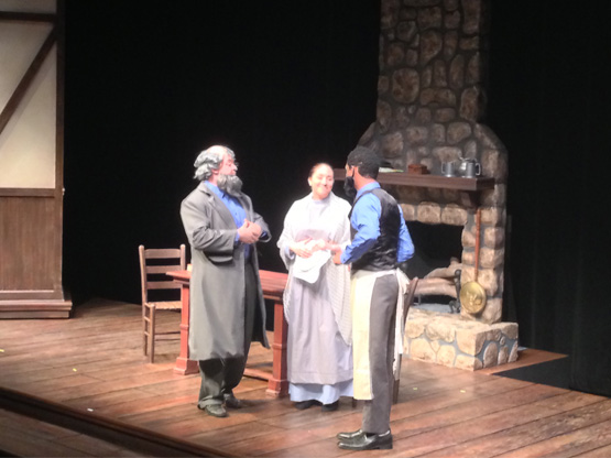 The Book of Liz (Francis Marion University Theatre) with Reverend Tollhouse (Matthew Adkins), Sister Constance Butterworth (Rebecca Whitten), and Brother Nathaniel Brightbee (Jordan Brown)